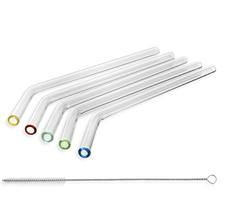 Reusable Bent borosilicate แก้วฟางสี