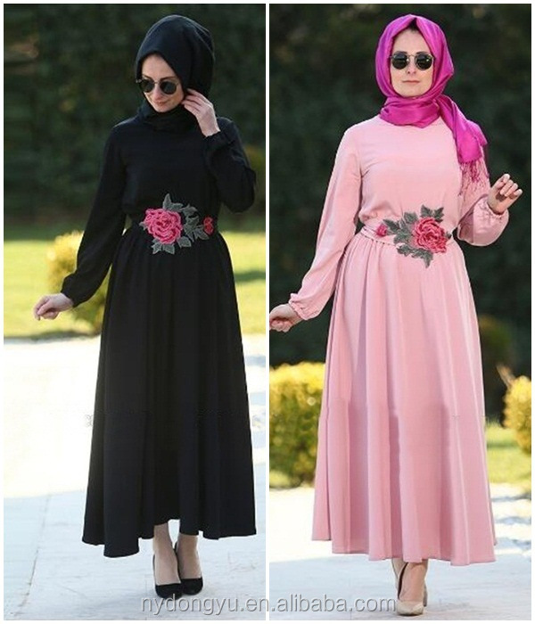 polyester rose waist muslim dress/dql Arabian islamic polyester breathable abaya kaftan dresses/loose fit middle east clothing