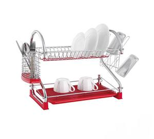 Double Tier Plastic Cutlery Drainer Kitchen Holder Drying Organizer Dish Rack