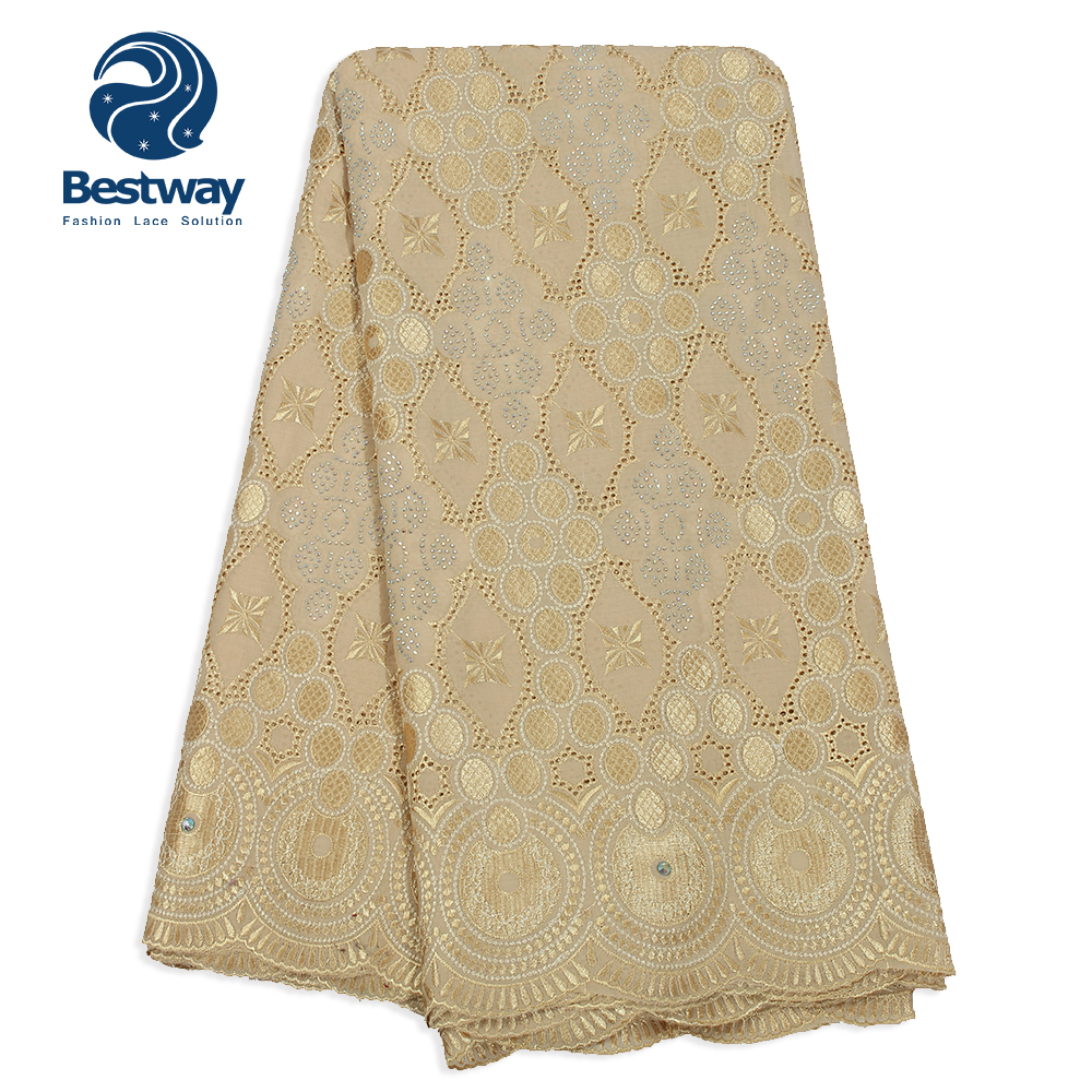 Imported From Abroad Best Quality Swiss Voile Lace Dubai 100% Cotton Lace Fabric With Stones Embroidery In Switzerland For Women Wedding 5yards+2yard Goods Of Every Description Are Available Home & Garden