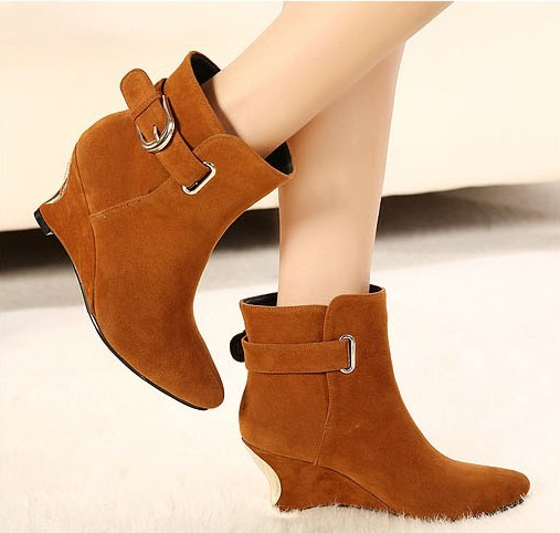 13 autumn and winter female boots wedge buckle high-heeled martin boots fashion pointed toe boots