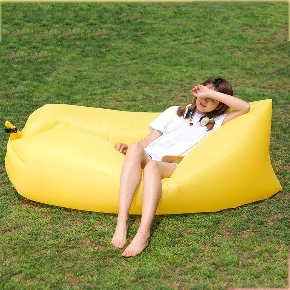 ONETWO Pure Color Air Sofa,Skin-friendly Damp-proof Waterproof Inflatable Lounger Lazy Artifact Camping Air Sofa Hammock