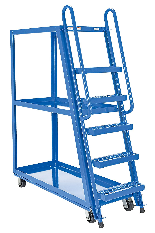 Vestil SPS-HF-2252 Hi-Frame Stockpicker Trucks, Steel, 1000 lbs Capacity, overall W x L x H (in.) 21-7/8 x 56-1/8 x 73-1/8, bottom shelf width/length (in.) 21-1/2 x 50-3/4, top shelf height (in.) 65-13/16, step spacing (in.) 10, 3 Shelves