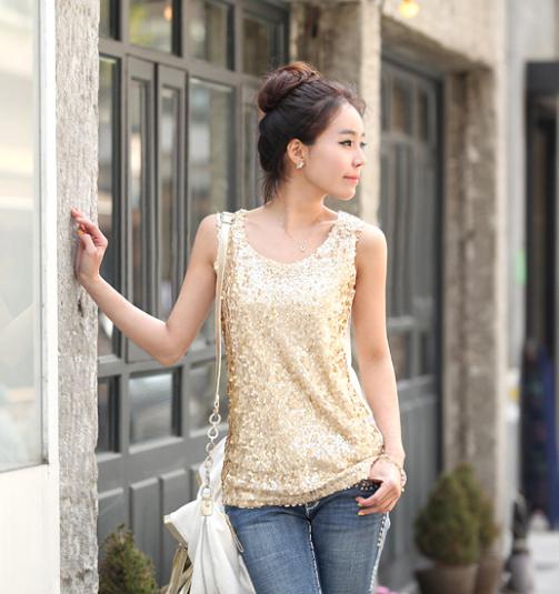 Лето женщины без рукавов футболки дамы аксессуары пайетки тельняшки женское блузка футболки жилет черный золото S-4XL