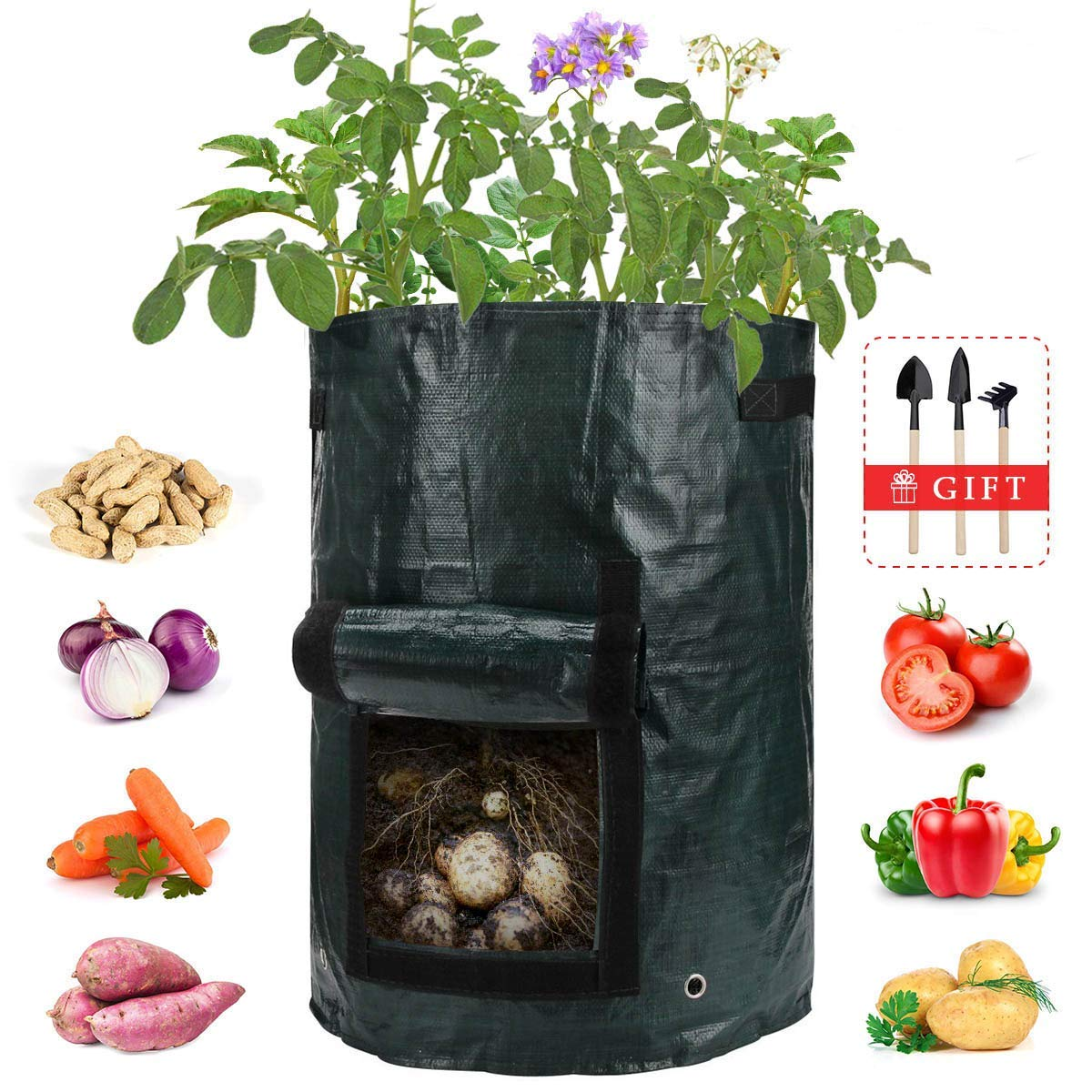 Cenfenner 2 Pack Garden Planter Bag, 7 Gallon Potato Grow Bags with Access Flap and Handles, Durable Raised Garden Bed for Planting Vegetables, Potatos, Tomatos, Carrots, Onions