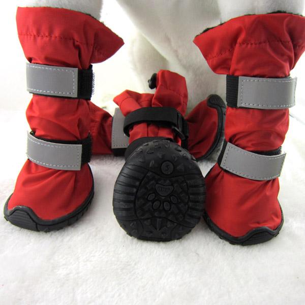 4PCS/Lot Big Dogs Winter Soft Pet Snow Boots Waterproof