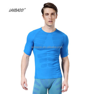 Wholesale Skin Fit Men's short sleeve sports underwear Muscle Quick Dry Compression T shirt