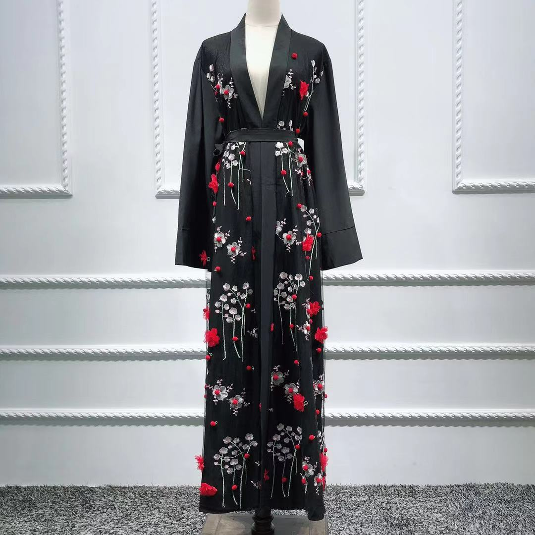 2019 new arrival fashion 3D flower design soft crept open Kimono Abaya EID