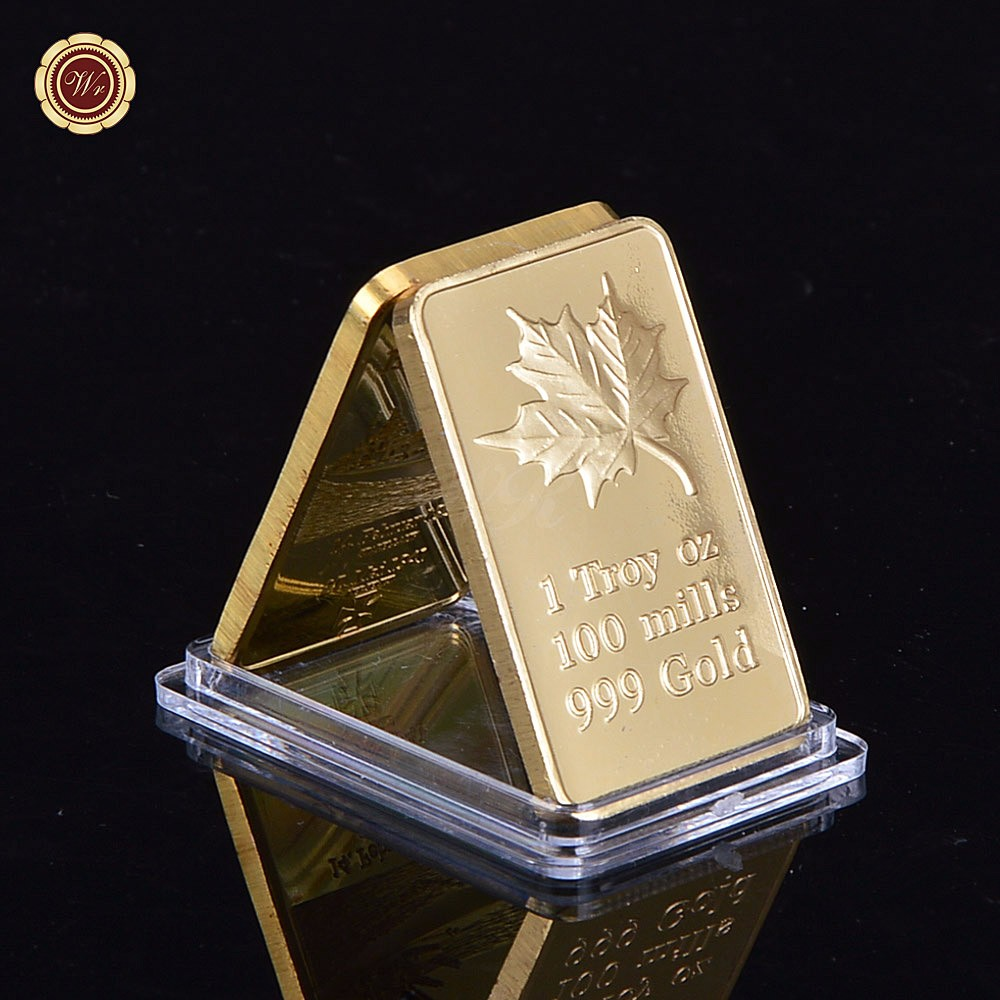 Wr 1 Troy Oz 100 Mills Gold Bar Plated With 24k 999 Gold