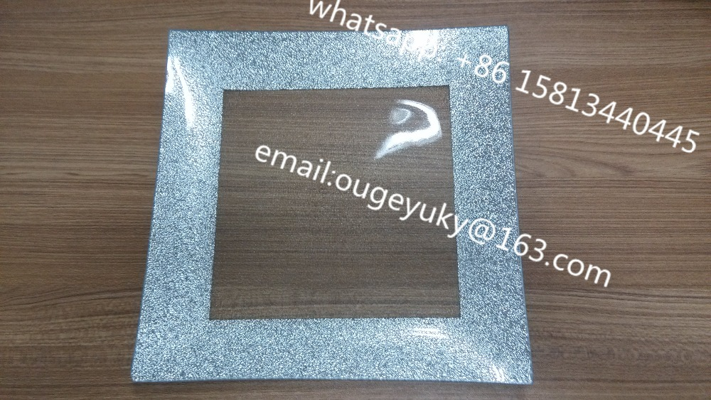 Elegant square glass charger plate with silver glitter at edge wholesale