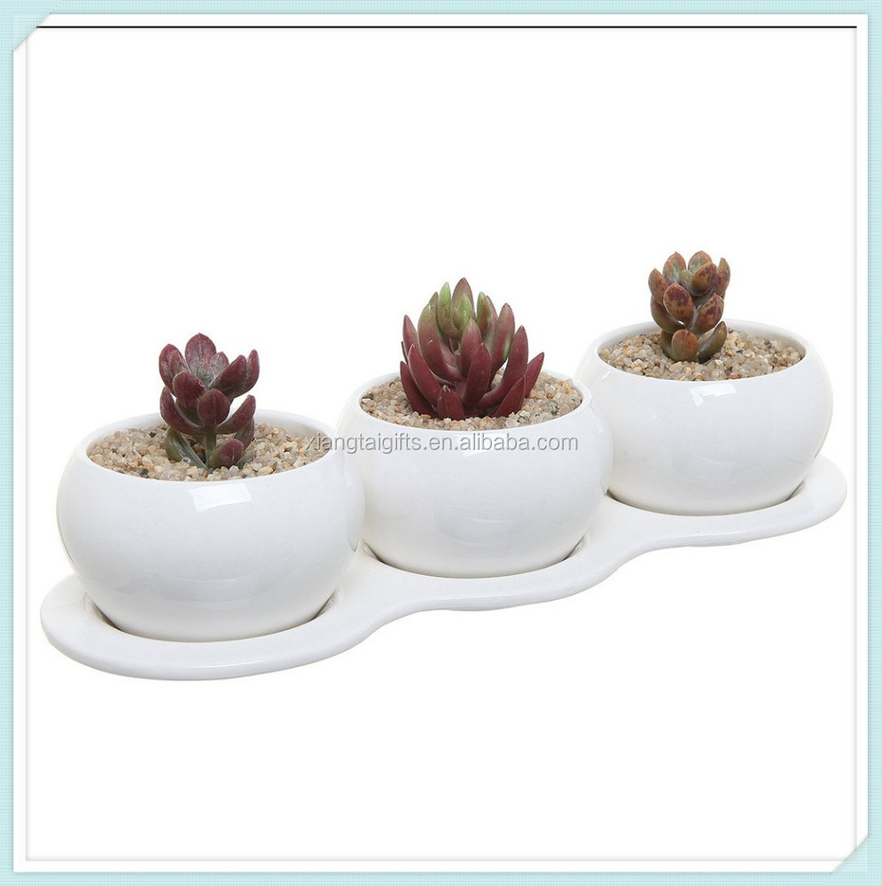 4 Piece Small White Ceramic Planter Set Kitchen Herb Garden Plant Pots Collection With 3 1 Tray