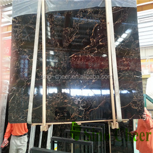 Fossil engineered black gold marble stone slabs