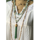 N16071510 Long Bohemian Tulip Cap Emerald Bead Amazonite Knotted Tassel Necklace