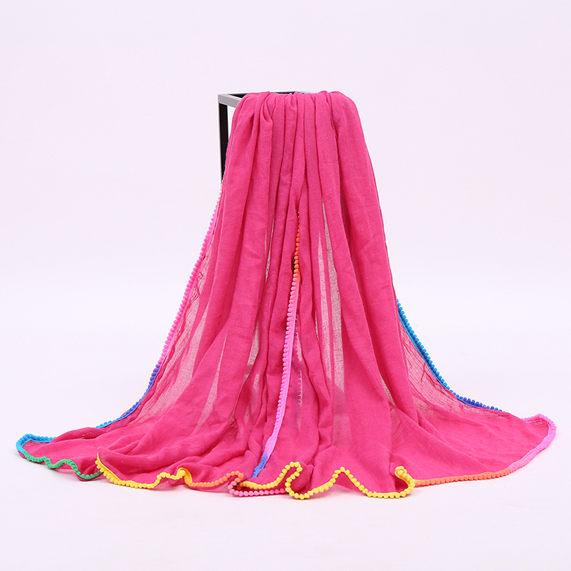 Women's Small Pompon Fringe Solid Color Silk Sunscreen Beach Long Scarf Shawl Wrap