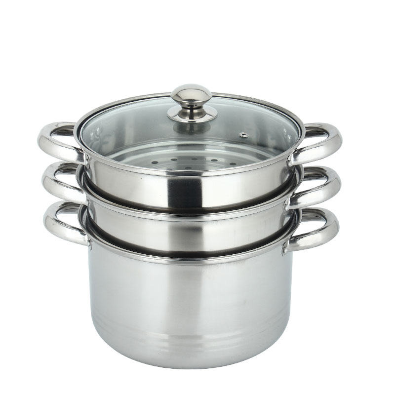Three layers double boiler 3 tiers food steamer cooking pot