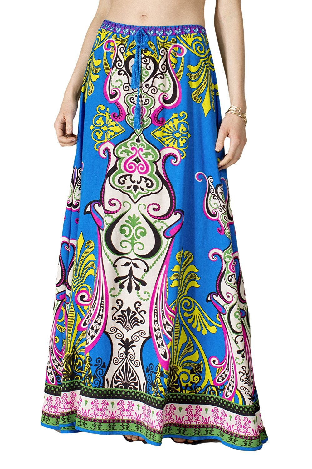 70f74f680 Get Quotations · Womens Pink Blue Geometric Tribal Print Ethnic Gypsy Long  Boho Maxi Skirt