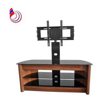 Wooden Installing Led Used Tempered Glass Free Standing Tv Stand