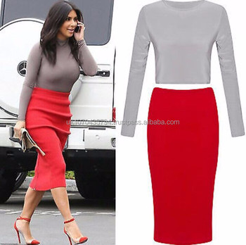 78b3bc0bd3316 Celeb Kim Kardashian Two Piece Crop Top High Waist Skirt - Buy Crop ...