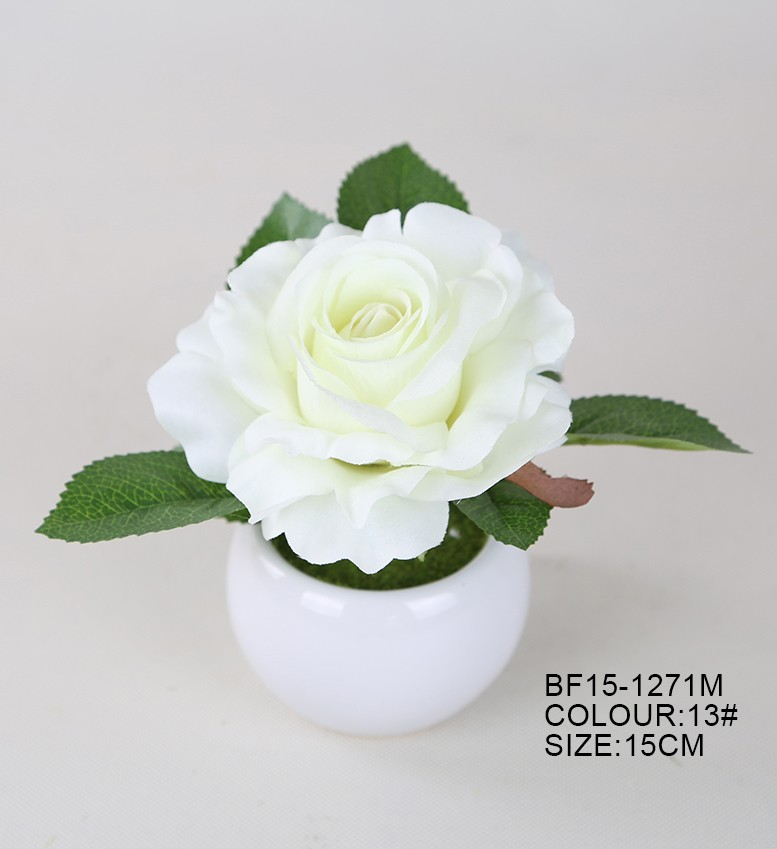 charming life like mini white artificial rose flower with round ceramic pot for decoration