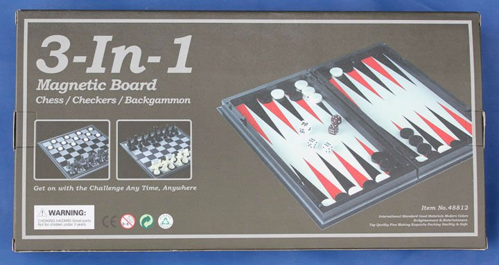3 in 1 magnetic game set chess and checker and backgammon