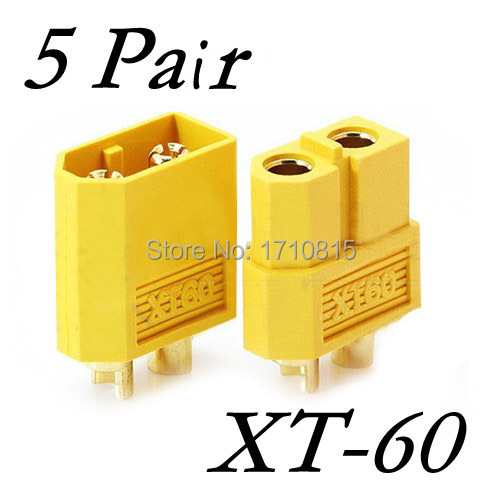 Wholesale 5 Pair Of XT60 XT-60 Male Female Bullet Connectors Plugs For RC Lipo Battery Free Shipping