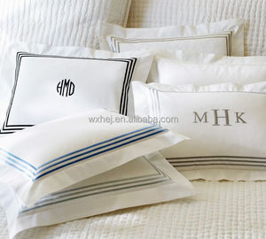 White hotel/hospital embroidery/brand name bed sheet/pillow case