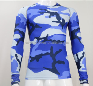 Lycra fabric custom long sleeve sublimation compression shirt men