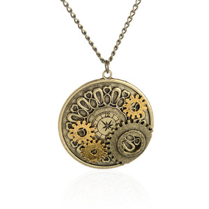 Mans Vintage Steam Punk Pocket Watch Gear Alloy Charm Necklace with Digital
