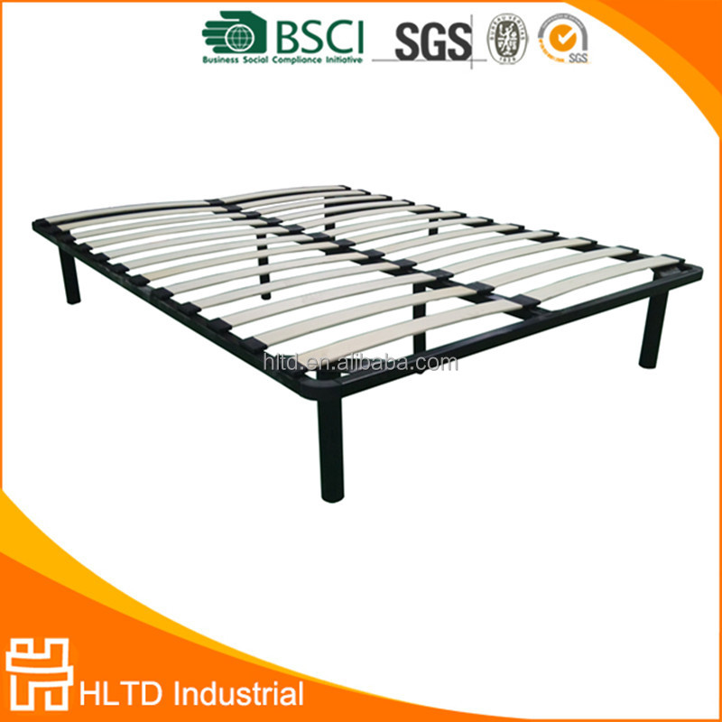 Cheap Double Bed Designs Metal Bed Base with Wood Slat