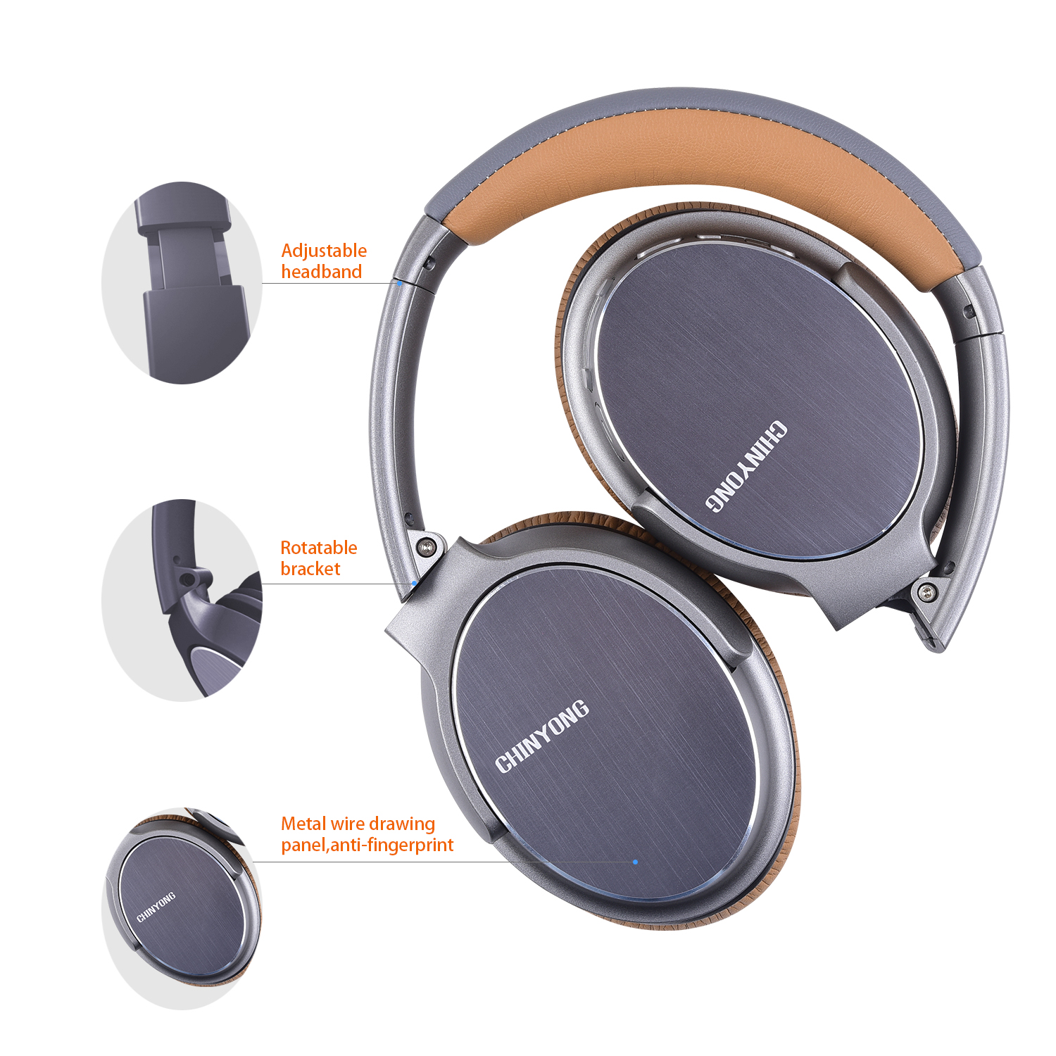 High Quality Over ear Stereo Metal Headband Wireless Headphones Bluetooth with Microphone фото