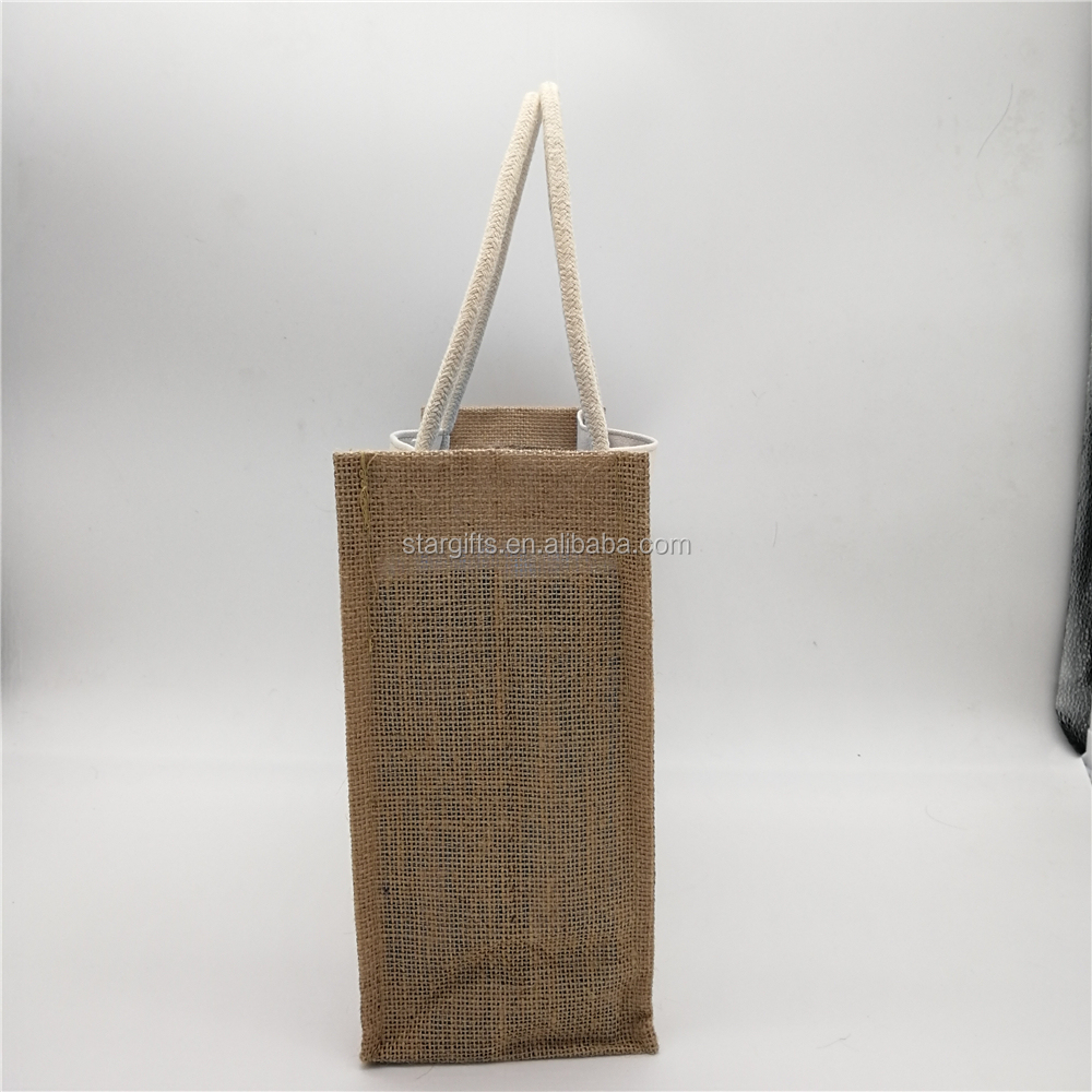 Custom Quilted Low Price Standard Size Classic Portable Professional Style Handles Printed Jute Tote Bag For Grocery