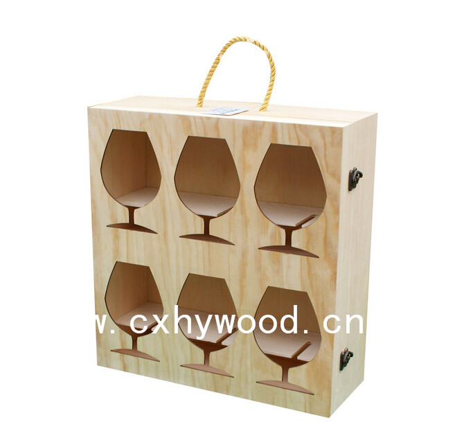high quality wooden wine cups box wood packaging boxes for drinking cups