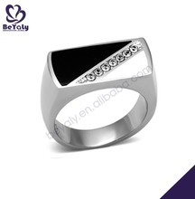 Black triangle design seven cz 316 stainless steel ring mens