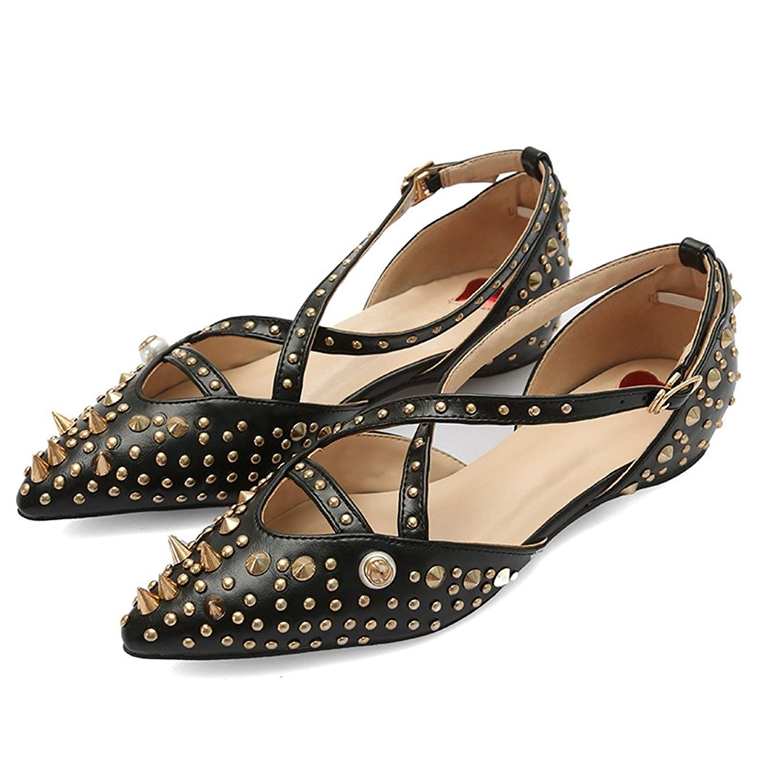 fa9cf5595cf0e1 Get Quotations · JINANLIPIN Women s Pointer Toe Cut Out Criss Cross Strap  Fashion Rivet Dress Flats Shoes