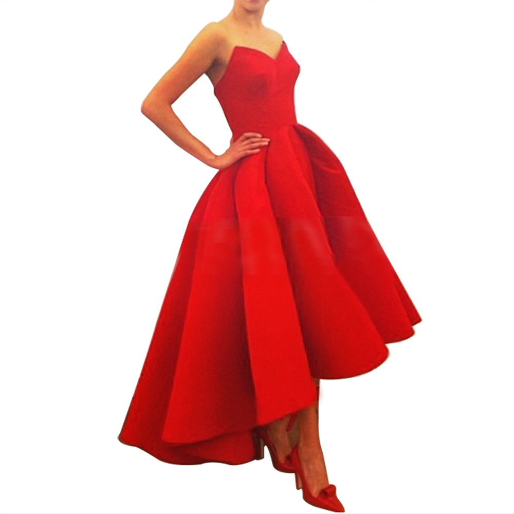 1d5f4ea74ce0 Get Quotations · Long Red Ball Gown Evening Dress Short 2015 Real Sample  Sweetheart Satin Formal Evening Gowns Short