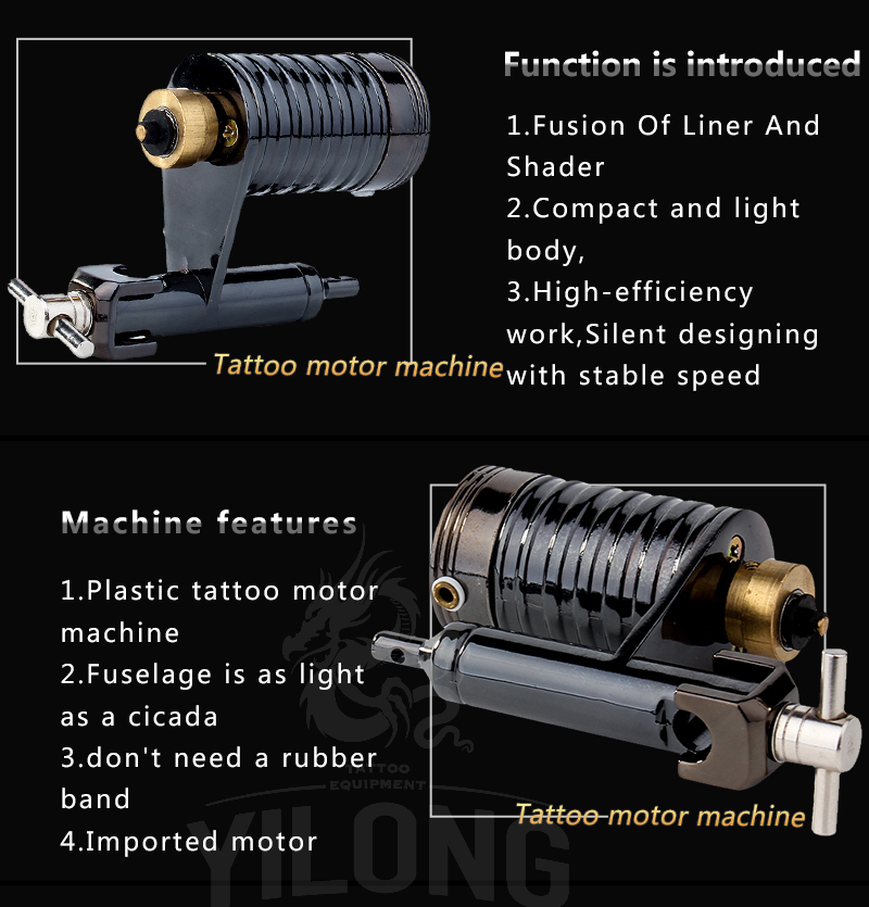 Yilong  Hot Sale Professional Tattoo Supply Rotary Tattoo Machine for Tattoo Using Electric Motor