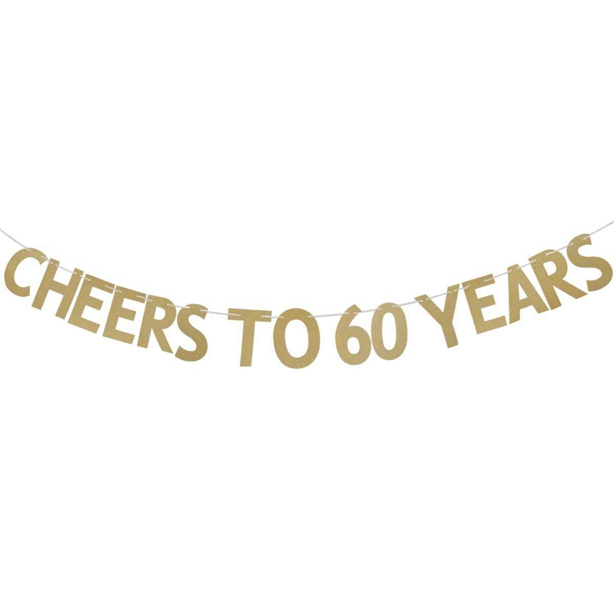 Get quotations · ultnice letters banner with cheers to 60 years golden glitter garland bunting hanging decoration 3m