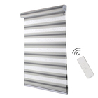 Home window decorative double layers fabric day night roller motorized zebra blinds