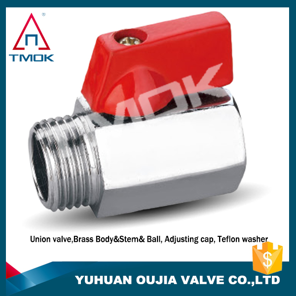 red handle ball valve with polishing full port square shape with brass ball valve nipple PTFE seated mini ball valve
