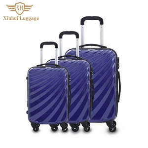 Travel carry on trolley luggage 3 piece pc abs luggage sets
