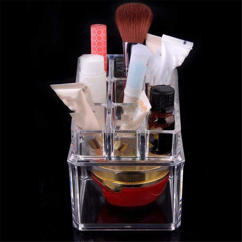 ZQ Cosmetics/Stationery/Small Items Transparent Acrylic Plastic Desktop Mini Storage Box,Multi-grid