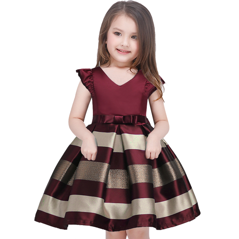 Ysmarket 2018 New Bow Stripes Princess Dress Of Girls Baby Girl