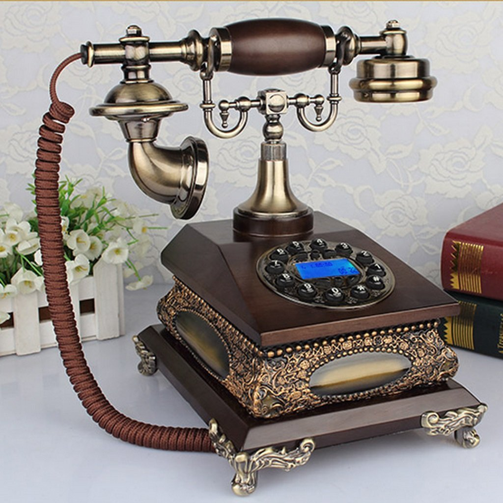 Hyun times Solid Wood European Pastoral Retro Phone Living Room Home Antique Telephone Plane