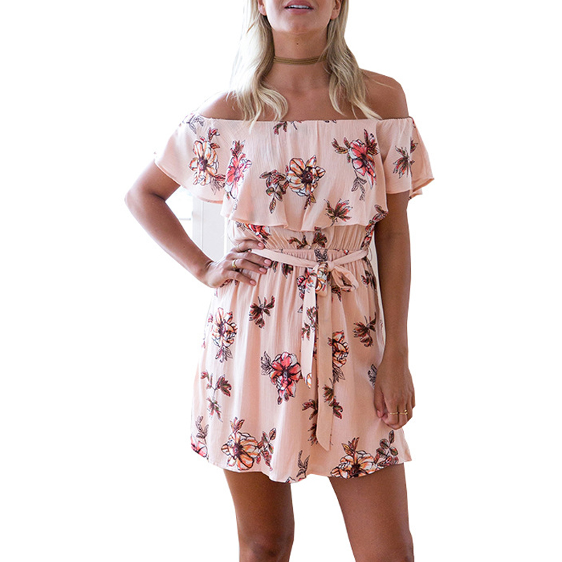 Simple Beautiful Lady One Piece Flora Skirt Off Shoulder Loose Crystal Mini Dress