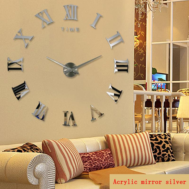 2016 hot fashion quartz watch home decor limited sale 3d big mirror diy real wall clock