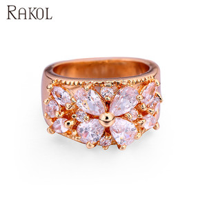 RAKOL Elegant Decoration Rose Gold Clean Crystal Flower CZ Ring For Wedding Bridal R022