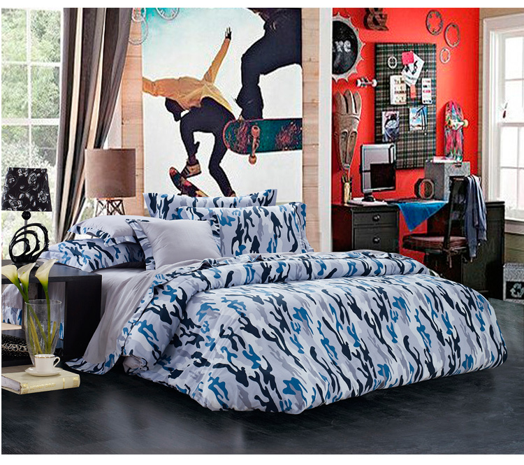 Blue Gray Camouflage Cool Bedding Sets Queen Full Size For