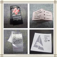custom satin washing care instruction label