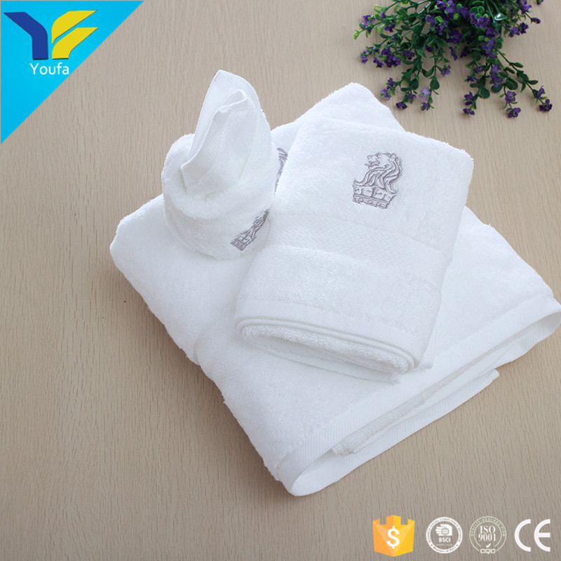 Chinese custom made embroidered logo towel luxury hotel 100% cotton towels bath set