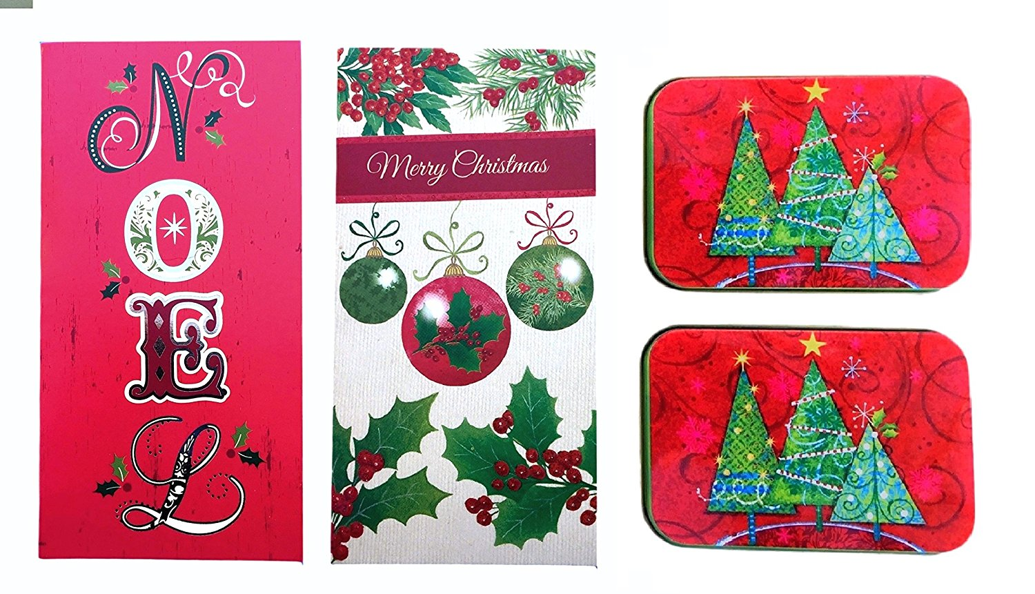 Christmas Money and Gift Card Tin Case Holders Noel and Merry Christmas